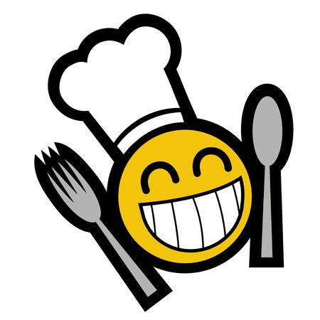 Tekening smileygezicht met gebruiksvoorwerpen eten