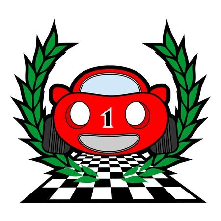 triumphing: Red racing car winner