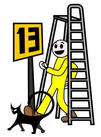 superstitious: Situazioni sfortunate Vettoriali