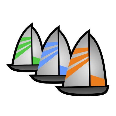 Three sailboats Ilustração