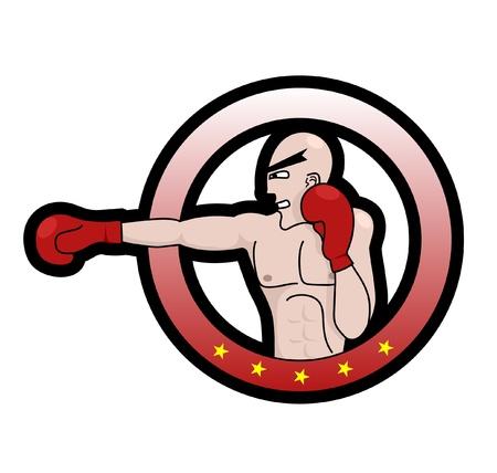 Emblem boxer punching Stock Vector - 10679062