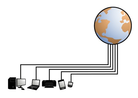 Planet Earth and computer equipment Stock Vector - 10729171