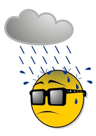 melancholy: Emoticon in de regen Stock Illustratie