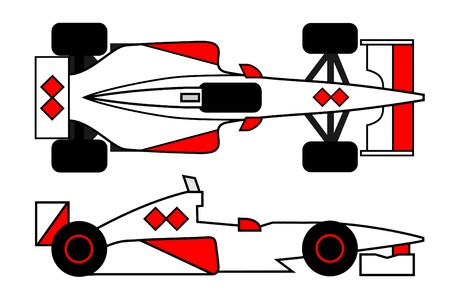 industrialization: Red and white racing car Illustration