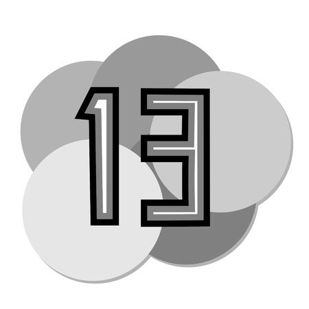 thirteen: Icon with the number thirteen Illustration