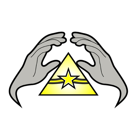 Hands covering an emblem Stock Vector - 10679060