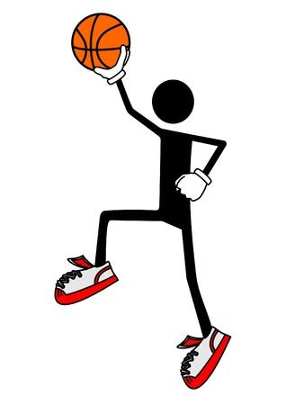 sport mats: Stick man playing basketball Illustration