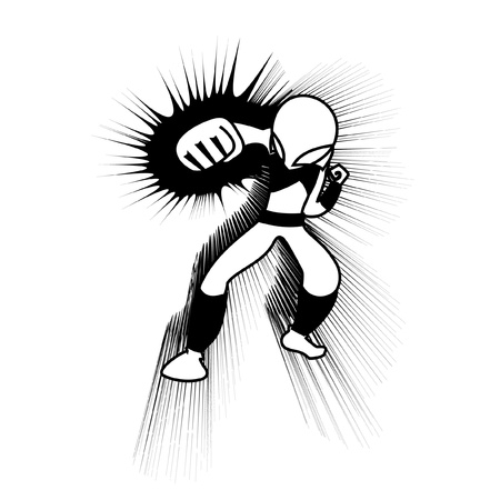 Comic character punching Stock Vector - 10731318