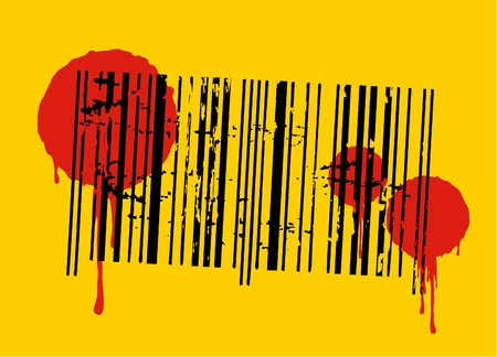 Yellow background with stained bar code Vector