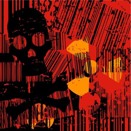 radioactive symbol: Fondo de terror con cr�neo y s�mbolo radiactivo