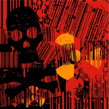 Terror background with skull and radioactive symbol Vector