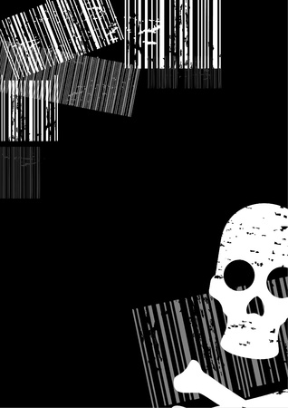 expiring: Barcode and skull in dark background
