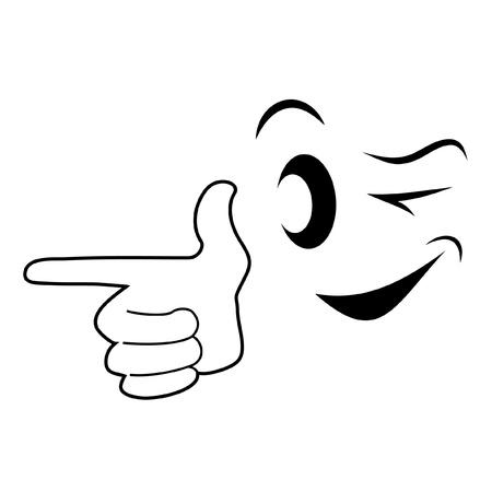 clin d oeil: Visage et main pointant Illustration