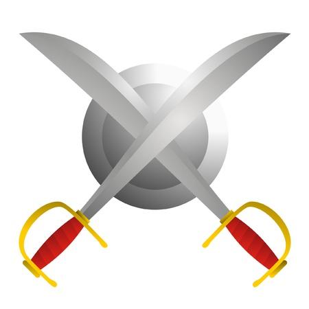 iron cross: Viking sword and shield