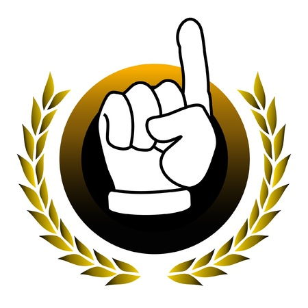 Emblem with hand in victory Stock Vector - 10829020