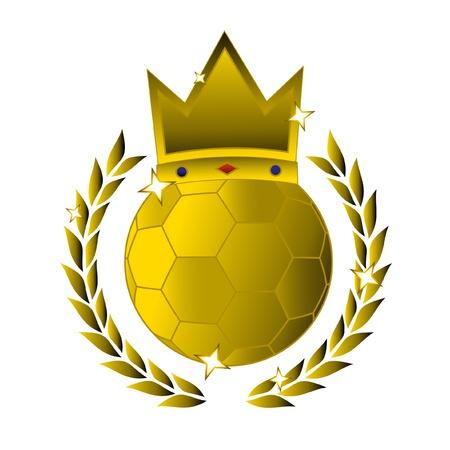 king crown laurel icon round: King soccer Illustration