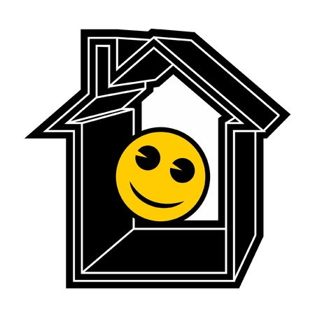 Happy face on a house Vector