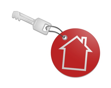 Key with round home key chain Vector