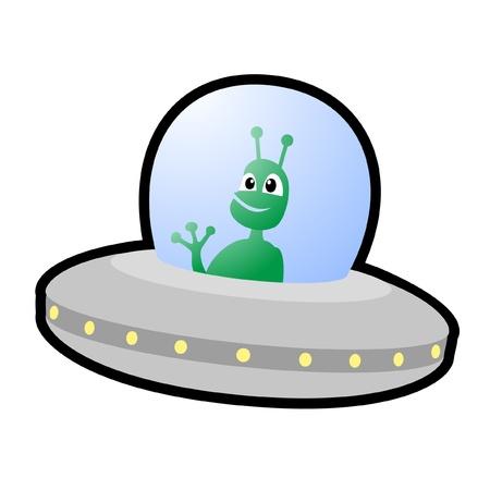 Alien waving from his spacecraft Vector