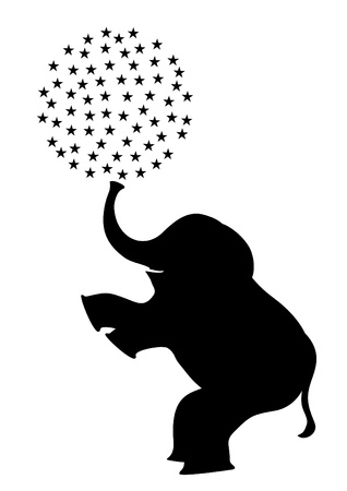 animal silhouette: Elephant standing on two legs