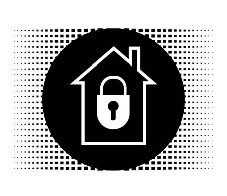 Circular icon with house and lock closed Stock Vector - 10829021