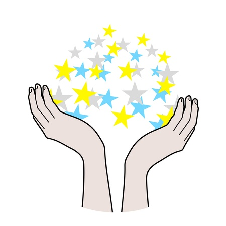 Hands and color stars Stock Vector - 10945020
