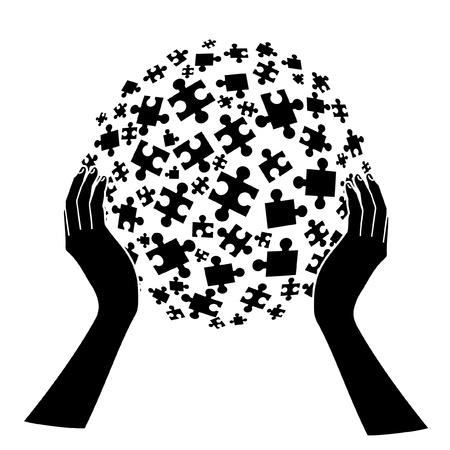 sociologia: Manos sosteniendo piezas
