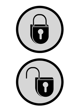 Lock and unlock icons Vector