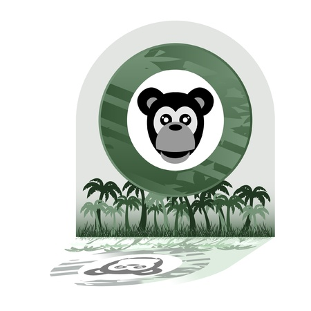 Monkey in the jungle Stock Vector - 10944856
