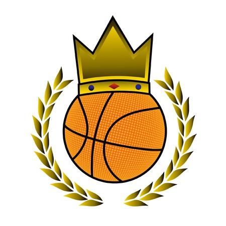 king crown laurel icon round: Gold sport basket
