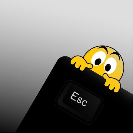 escape key: Emoticon and escape key Illustration