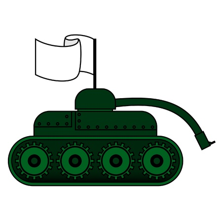 surrender: Tank with peace flag Illustration