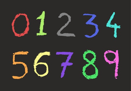 numerology: Colorful numbers Illustration