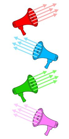 amplify: Colored megaphones Illustration