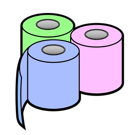 toilet roll: Three colored paper rolls