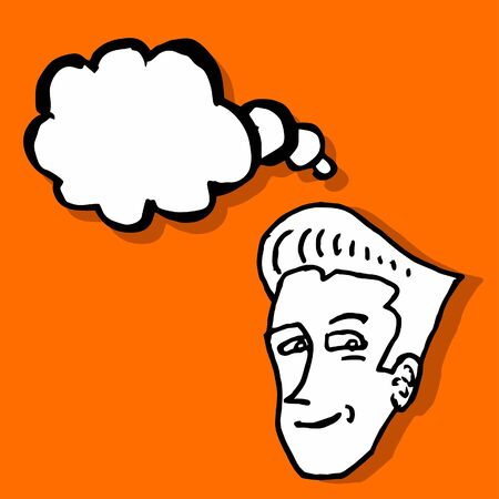Creative comic draw of head thinking Vector