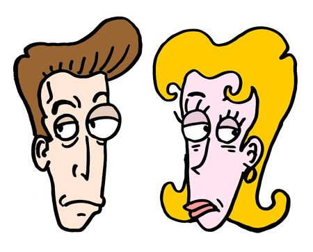 expressive style: Draw man and woman faces Illustration