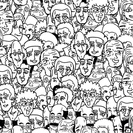 character abstract: Many faces background