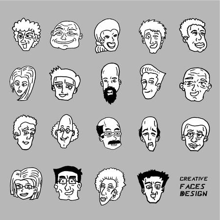 많은 얼굴의 디자인 일러스트