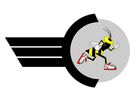 Wasp runner emblem Stock Vector - 11250579