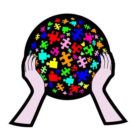 Color puzzle creative Vector