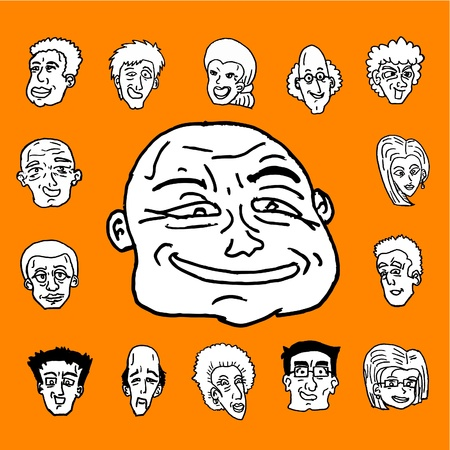 expressive style: People faces Illustration