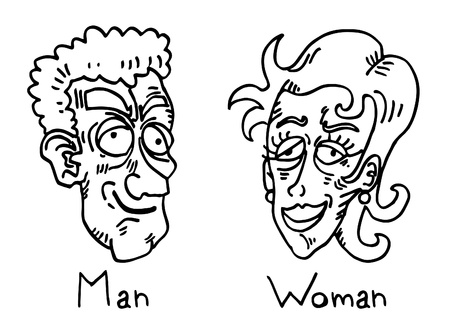 comic duo: Man and woman drawing