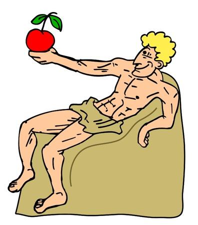 sentarse: Manzana roja de arte