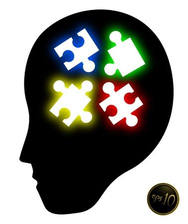 pensamiento creativo: Puzzle psicolog�a Vectores