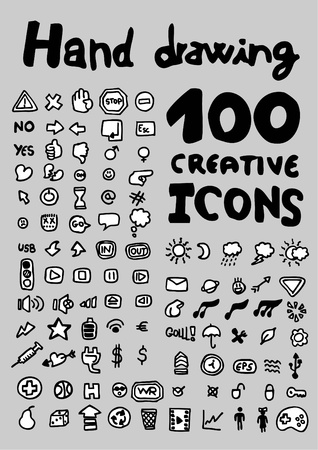 100 hand drawing creative icons  Vector