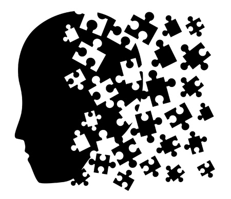 denker: Puzzel gezicht symbool Stock Illustratie