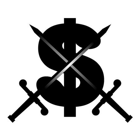 booming: Dollar symbol and black swords