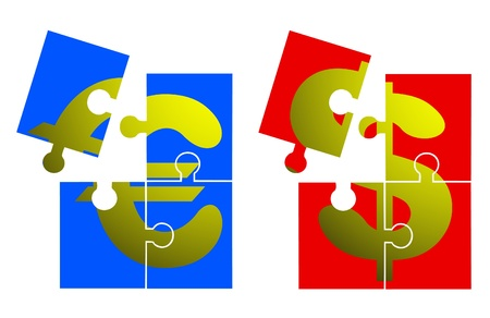Euro and dollar puzzle Vector