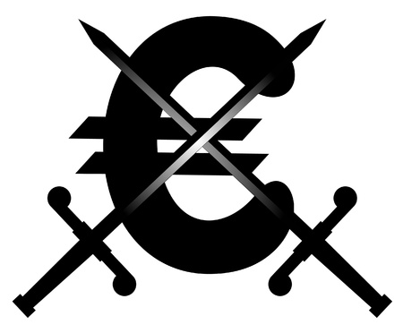booming: Euro symbol and two swords Illustration